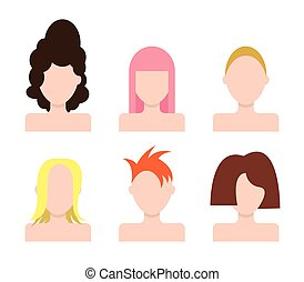 Vector people faces Icons set. Hairstyle - Vector people...