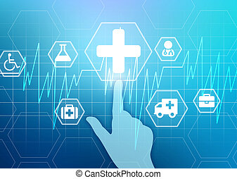 hand presses the medical cross. Heartbeat and icons...