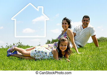 Family House - family on the grass - family on the grass...