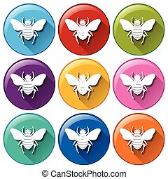 Circle buttons with insects on a white background