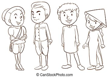 Asian people - Plain sketches of the Asian people on a white...