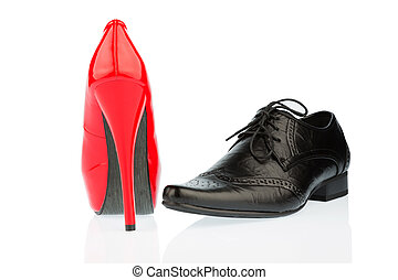 high heels and men's shoe - women's shoes and men's shoes,...