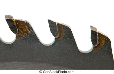 saw blade - Close up of saw blade on white background and...
