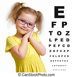 Smiling girl in glasses with eye chart isolated on white