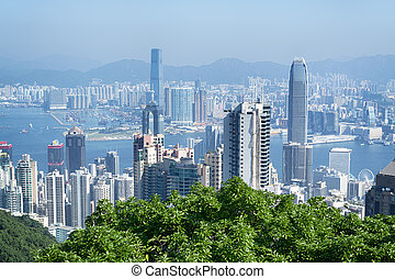 Hong Kong Skyline - Hong Kong view from Victoria Peak,