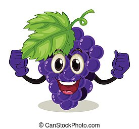 Fruit - Smiling purple grapes on white background