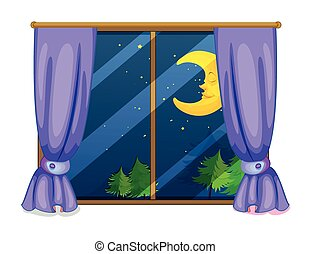 Night view - Illustration of a night view from a window