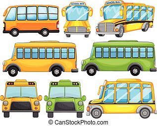 School bus - Illustration of a set of school bus