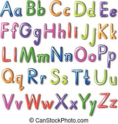 Letters of the alphabet in a colourful font style on a white...