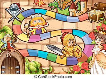Board game - Illustration of a boardgame with fairytale...