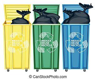 Garbage - Three opned trash bin
