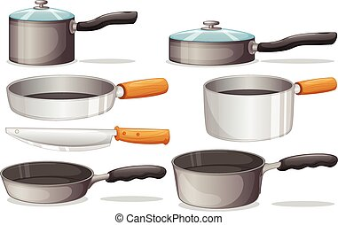 Cooking equipments - Illustration of different cooking...