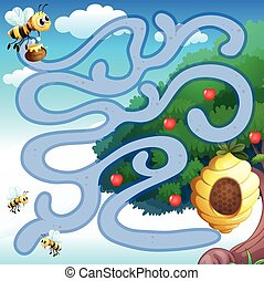 Maze - Illustration of a maze with bees and a hive...