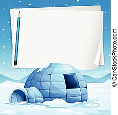 Igloo and papers - Illustration of an igloo with papers and...