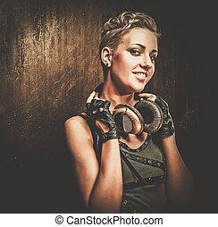 atractivo, steampunk, niña, con, auriculares,