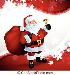 Vector Christmas Greeting Card with Santa Claus