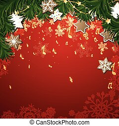 Vector Christmas Music Background - Vector Illustration of a...