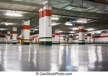 Underground Parking - Empty Underground Parking Garage