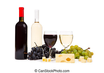 Two bottles of wine and grapes - Two bottles of white and...