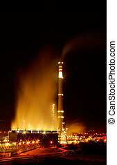 Night view of a petrochemical refinery