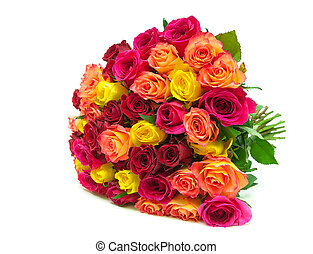 beautiful bouquet of fresh roses closeup isolated on a white...