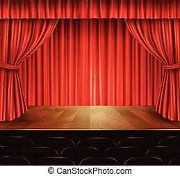 Theater stage background - Theater stage with seats red...