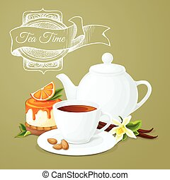 Tea party poster with cup pot orange dessert and badge...