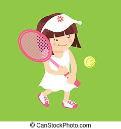 Girl with tennis racquet - Girl kid with sport tennis...