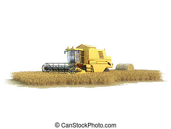 combine-harvester on isolated field, agronomic illustration...