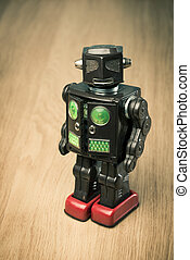 Vintage tin toy robot - Vintage funny tin toy robot on...