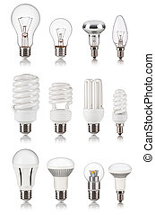 set of different light bulbs isolated on a white bakground