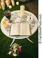 Bible on wedding - Wedding bible on white table