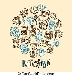 Kitchen equipment sketch - Kitchen equipment and appliances...