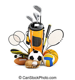 Sport equipment collection - Sport equipment on white...