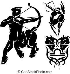 zodiak, znaki, -, sagittarius., Wektor, set.,