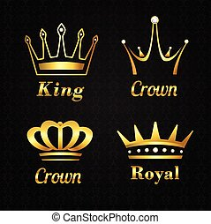 Golden crown labels set - Golden heraldry kings and queen...