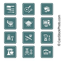 Cooking utensil icons || TEAL serie - Modern professional...