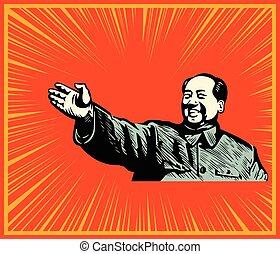 Cheerful Mao poster - Mao showing the bright path to China...