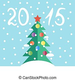 Christmas tree - Flat vector illustration with a green...