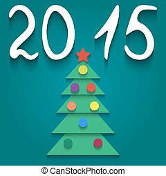 Christmas tree - Vector illustration with a paper green...