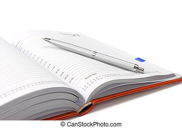 Diary - Business diary with a pen on a white background