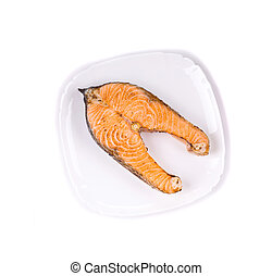 Crispy grilled salmon steak isolated on white background