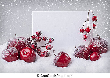 Blank sign with red christmas decorations