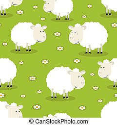 Seamless pattern of funny sheep - Seamless vector pattern of...