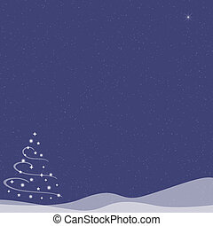 Christmas Tree - Falling Snow - Blue Indigo - Abstract...