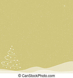 Christmas Tree - Falling Snow - Gold - Abstract illustration...