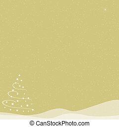 Natale, albero, -, Cadere, neve, -, oro