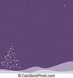 Christmas Tree - Falling Snow - Purple