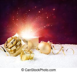magia, brilhar, de, Natal, present, ,