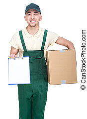 Delivery. - Pizza man. Smiling young delivery man is holding...